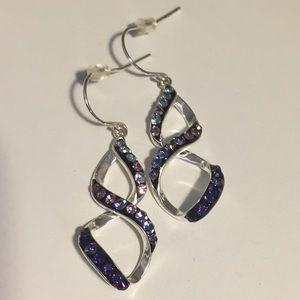 Sterling Silver Purple Crystal Earrings
